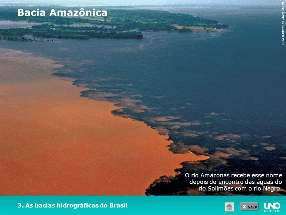 X SAIR 3. As bacias hidrográficas do Brasil Bacia Amazônica JUCA MARTINS/OLHAR IMAGEM O rio Amazonas recebe esse nome depois do encontro das águas do