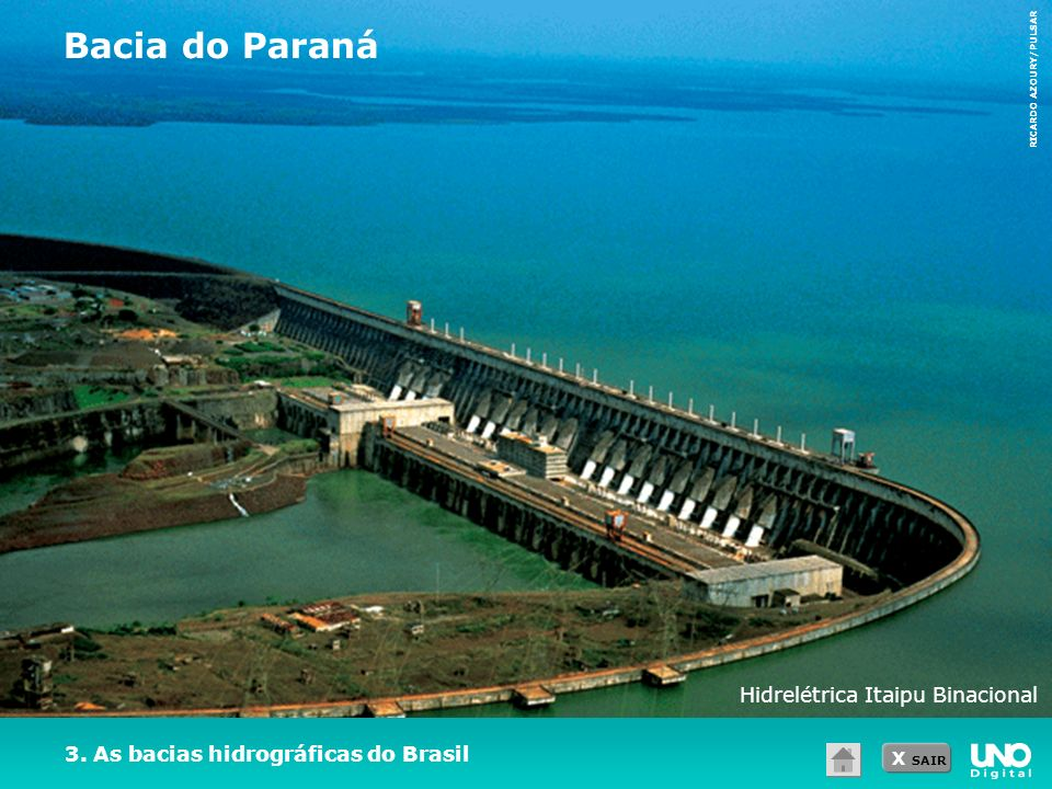X SAIR 3. As bacias hidrográficas do Brasil Bacia do Paraná RICARDO AZOURY/PULSAR Hidrelétrica Itaipu Binacional