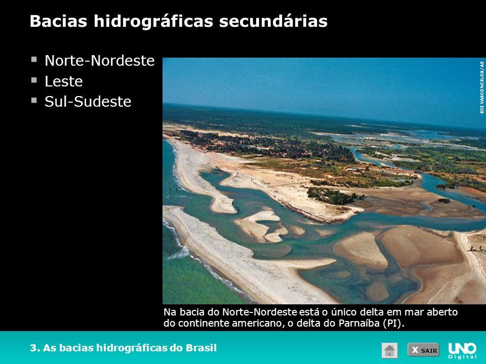 X SAIR 3. As bacias hidrográficas do Brasil Norte-Nordeste Leste Sul-Sudeste Bacias hidrográficas secundárias Na bacia do Norte-Nordeste está o único