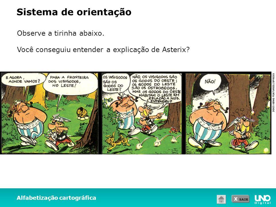 X SAIR Alfabetização cartográfica Sistema de orientação Observe a tirinha abaixo. Você conseguiu entender a explicação de Asterix? 2005 KING FEATURES/