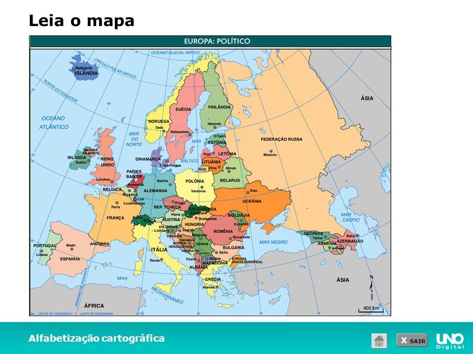 X SAIR Alfabetização cartográfica Leia o mapa