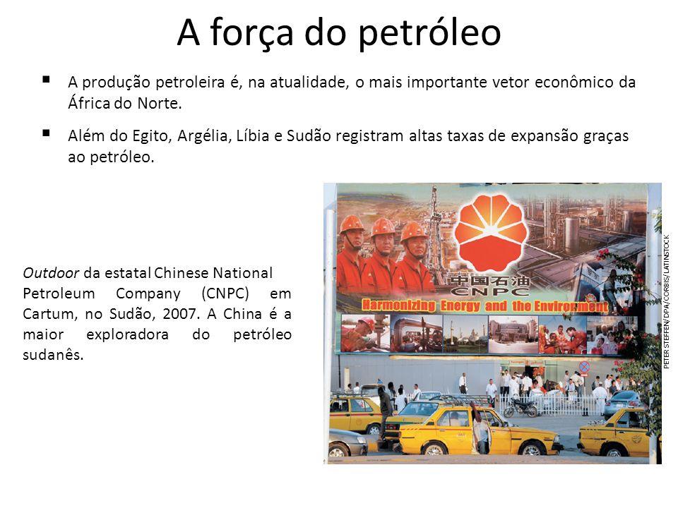 A força do petróleo A produção petroleira é, na atualidade, o mais importante vetor econômico da África do Norte. Além do Egito, Argélia, Líbia e Sudã