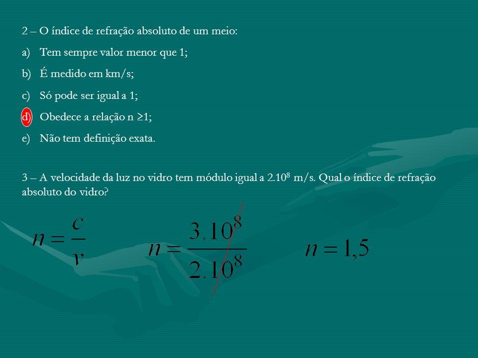 Pág 174 Exercícios 1 – Considere dois meios homogêneos e transparentes, A e B, separados por uma fronteira F. A luz proveniente do meio A atravessou a