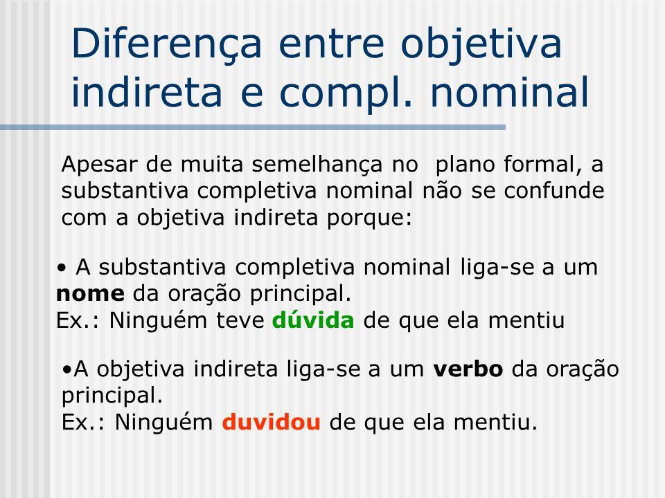 Oração subordinada substantiva completiva nominal Estrutura básica da oração principal Exemplo Sujeito + verbo + nome incompleto Ex: Estou certo de que ele virá.
