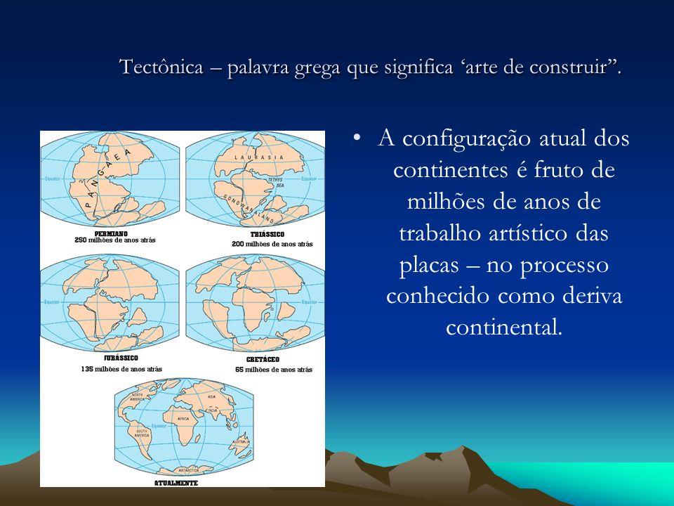 Tectônica – palavra grega que significa arte de construir. A configuração atual dos continentes é fruto de milhões de anos de trabalho artístico das p