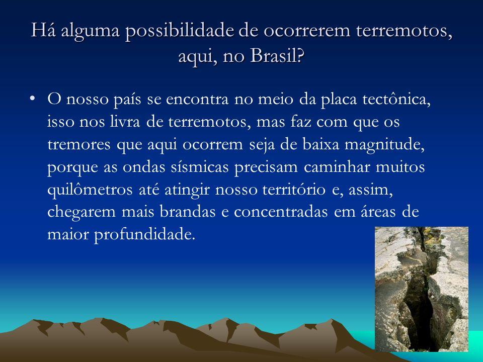 Há alguma possibilidade de ocorrerem terremotos, aqui, no Brasil? O nosso país se encontra no meio da placa tectônica, isso nos livra de terremotos, m
