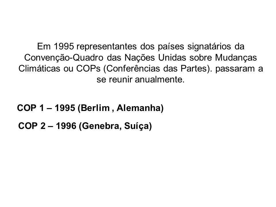 Em 1995 representantes dos países signatários da Convenção-Quadro das Nações Unidas sobre Mudanças Climáticas ou COPs (Conferências das Partes). passa