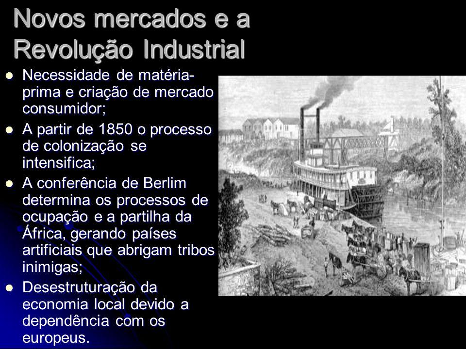 Novos mercados e a Revolução Industrial Necessidade de matéria- prima e criação de mercado consumidor; Necessidade de matéria- prima e criação de merc