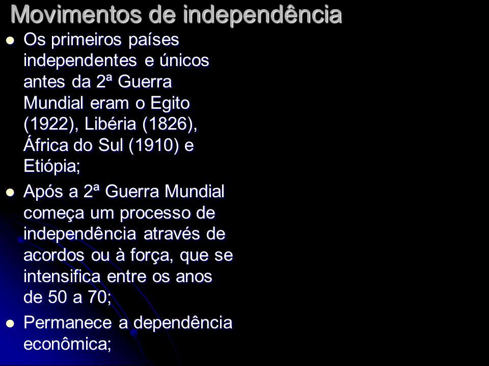 Movimentos de independência Os primeiros países independentes e únicos antes da 2ª Guerra Mundial eram o Egito (1922), Libéria (1826), África do Sul (