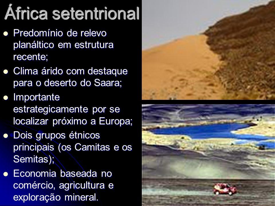 África setentrional Predomínio de relevo planáltico em estrutura recente; Predomínio de relevo planáltico em estrutura recente; Clima árido com destaq