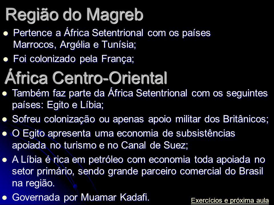 Região do Magreb Pertence a África Setentrional com os países Marrocos, Argélia e Tunísia; Pertence a África Setentrional com os países Marrocos, Argé