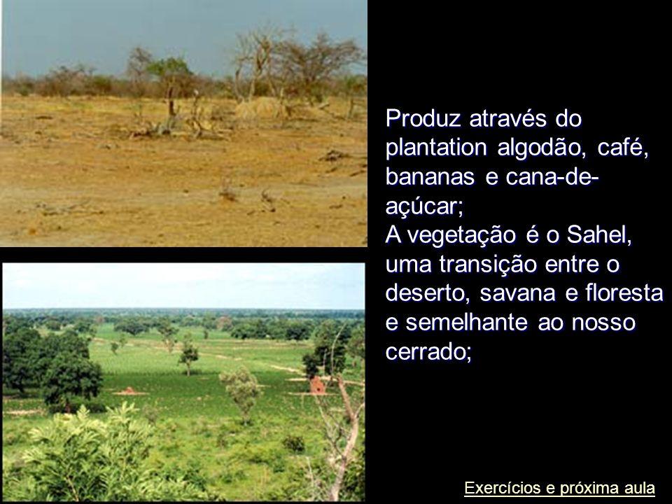 Produz através do plantation algodão, café, bananas e cana-de- açúcar; A vegetação é o Sahel, uma transição entre o deserto, savana e floresta e semel
