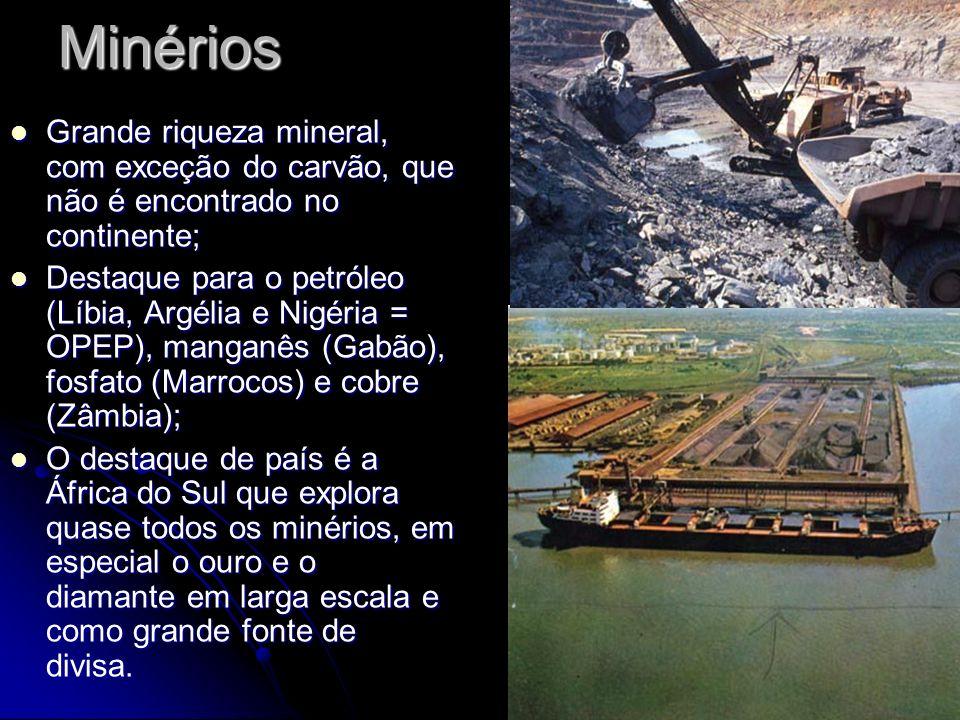 Minérios Grande riqueza mineral, com exceção do carvão, que não é encontrado no continente; Grande riqueza mineral, com exceção do carvão, que não é e