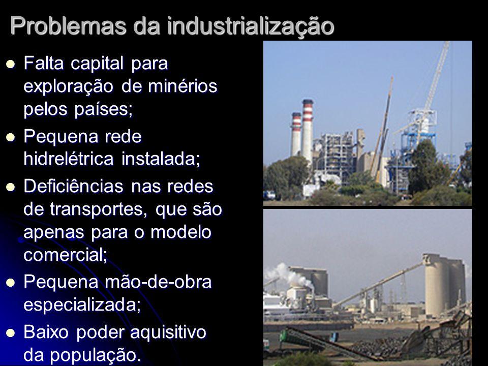 Problemas da industrialização Falta capital para exploração de minérios pelos países; Falta capital para exploração de minérios pelos países; Pequena