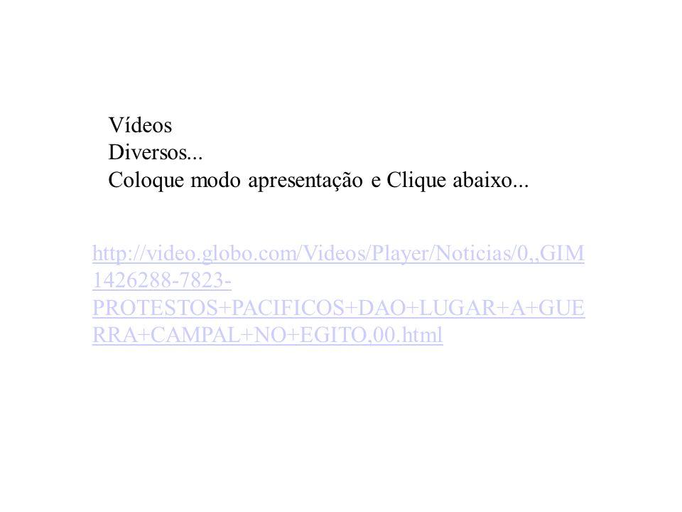 Vídeos Diversos... Coloque modo apresentação e Clique abaixo... http://video.globo.com/Videos/Player/Noticias/0,,GIM 1426288-7823- PROTESTOS+PACIFICOS