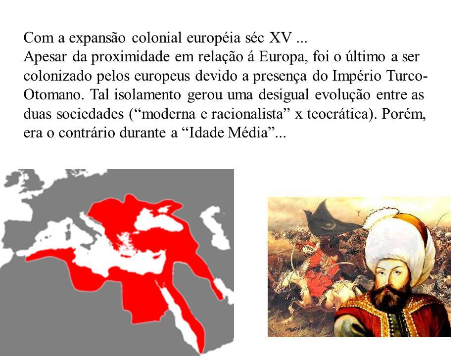 Com a expansão colonial européia séc XV... Apesar da proximidade em relação á Europa, foi o último a ser colonizado pelos europeus devido a presença d