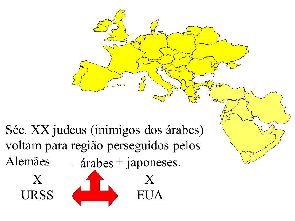 Séc. XX judeus (inimigos dos árabes) voltam para região perseguidos pelos Alemães + árabes + japoneses. X URSS X EUA