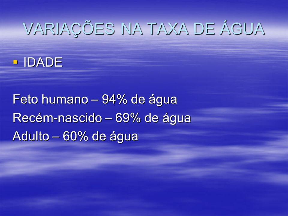 VARIAÇÕES NA TAXA DE ÁGUA IDADE IDADE Feto humano – 94% de água Recém-nascido – 69% de água Adulto – 60% de água