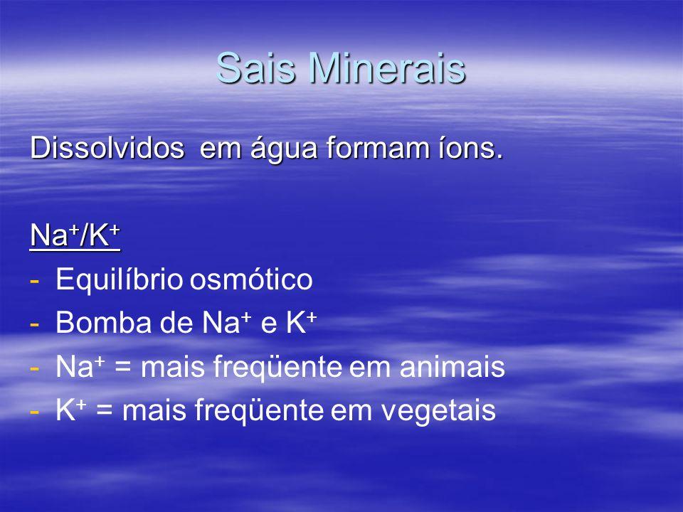 Sais Minerais Dissolvidos em água formam íons. Na + /K + - -Equilíbrio osmótico - -Bomba de Na + e K + - -Na + = mais freqüente em animais - -K + = ma