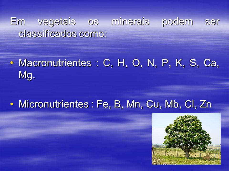Em vegetais os minerais podem ser classificados como: Macronutrientes : C, H, O, N, P, K, S, Ca, Mg.Macronutrientes : C, H, O, N, P, K, S, Ca, Mg. Mic