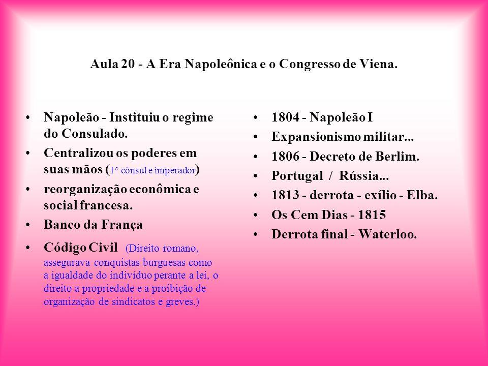 Aula 20 - A Era Napoleônica e o Congresso de Viena. 1804 - Napoleão I Expansionismo militar... 1806 - Decreto de Berlim. Portugal / Rússia... 1813 - d