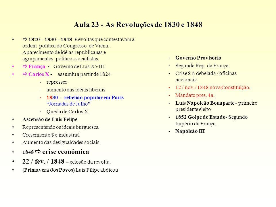 Aula 23 - As Revoluções de 1830 e 1848 1820 – 1830 – 1848 Revoltas que contestavam a ordem política do Congresso de Viena.. Aparecimento de idéias rep