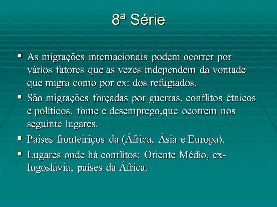8ª Série As migrações internacionais podem ocorrer por vários fatores que as vezes independem da vontade que migra como por ex: dos refugiados. As mig