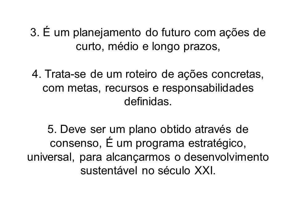 3. É um planejamento do futuro com ações de curto, médio e longo prazos, 4. Trata-se de um roteiro de ações concretas, com metas, recursos e responsab