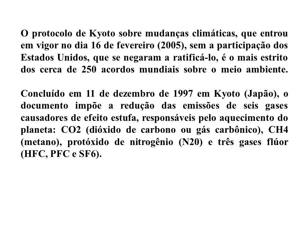 O protocolo de Kyoto sobre mudanças climáticas, que entrou em vigor no dia 16 de fevereiro (2005), sem a participação dos Estados Unidos, que se negar