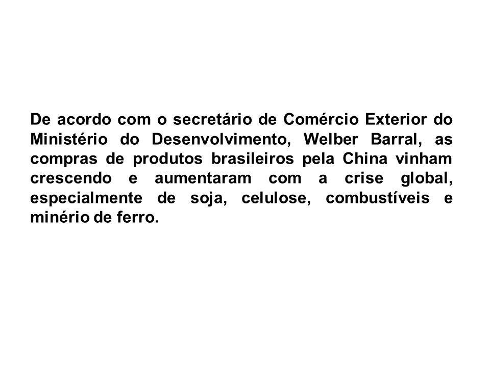 De acordo com o secretário de Comércio Exterior do Ministério do Desenvolvimento, Welber Barral, as compras de produtos brasileiros pela China vinham