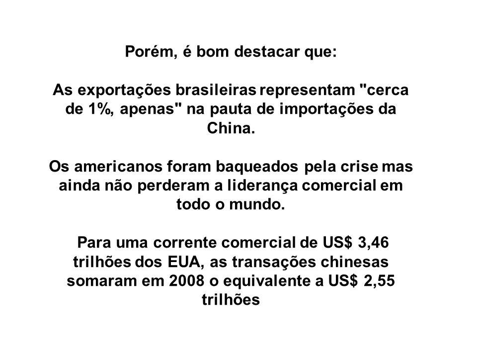Porém, é bom destacar que: As exportações brasileiras representam