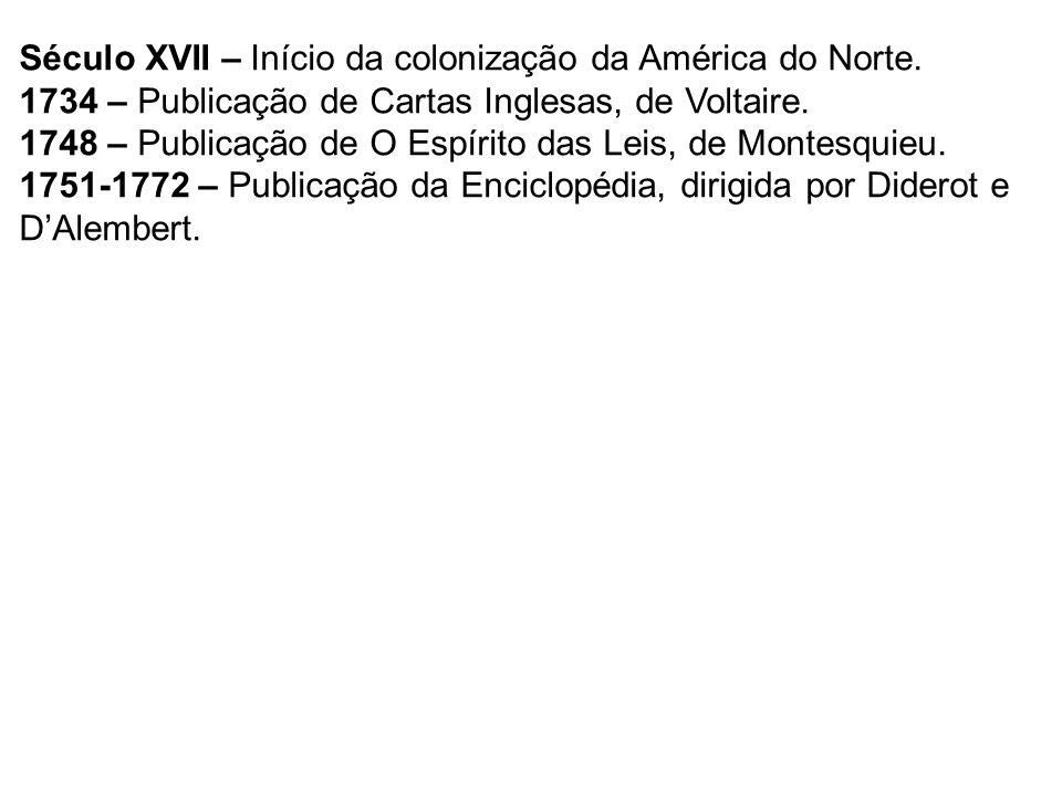 Século XVII – Início da colonização da América do Norte. 1734 – Publicação de Cartas Inglesas, de Voltaire. 1748 – Publicação de O Espírito das Leis,