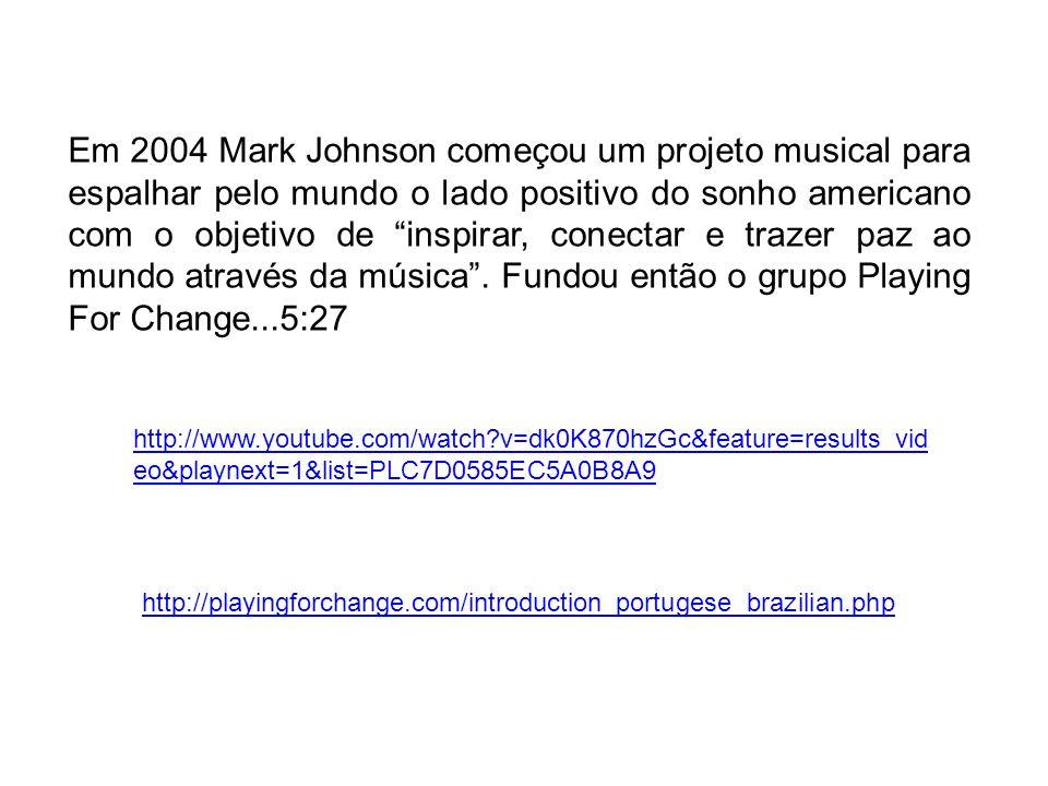 Em 2004 Mark Johnson começou um projeto musical para espalhar pelo mundo o lado positivo do sonho americano com o objetivo de inspirar, conectar e tra