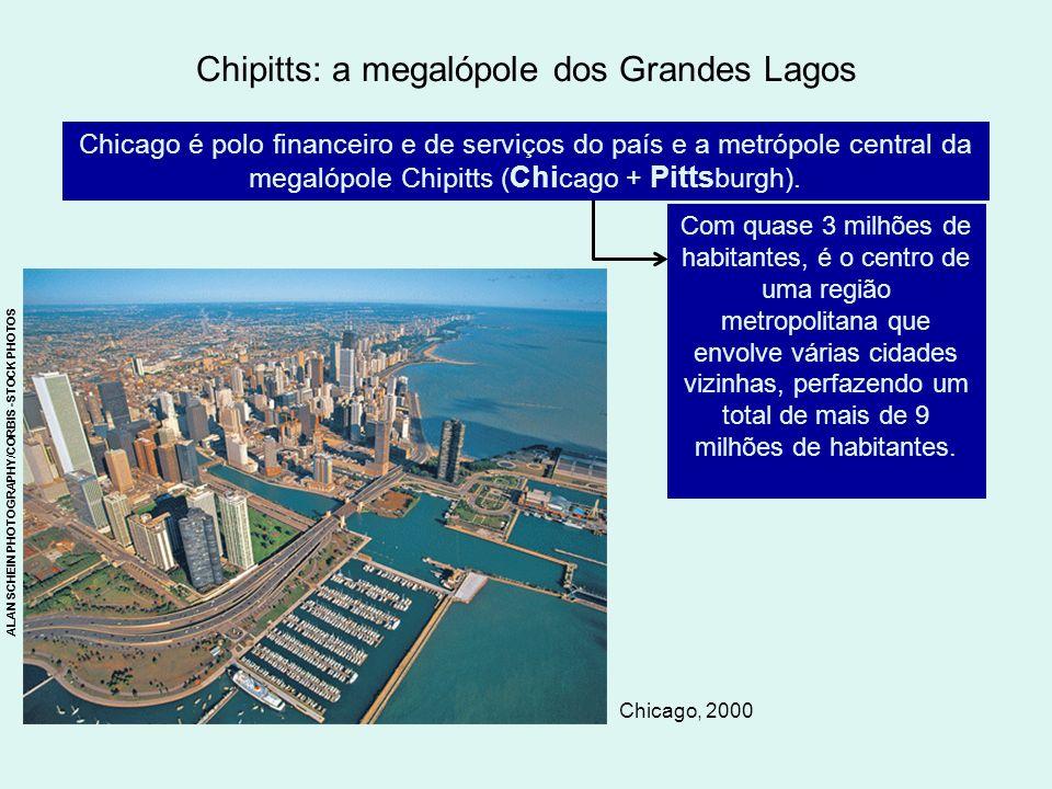 Chipitts: a megalópole dos Grandes Lagos Chicago é polo financeiro e de serviços do país e a metrópole central da megalópole Chipitts ( Chi cago + Pit