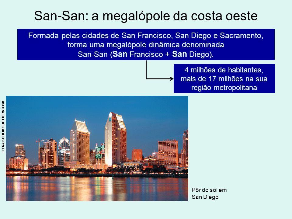 San-San: a megalópole da costa oeste 4 milhões de habitantes, mais de 17 milhões na sua região metropolitana Formada pelas cidades de San Francisco, S