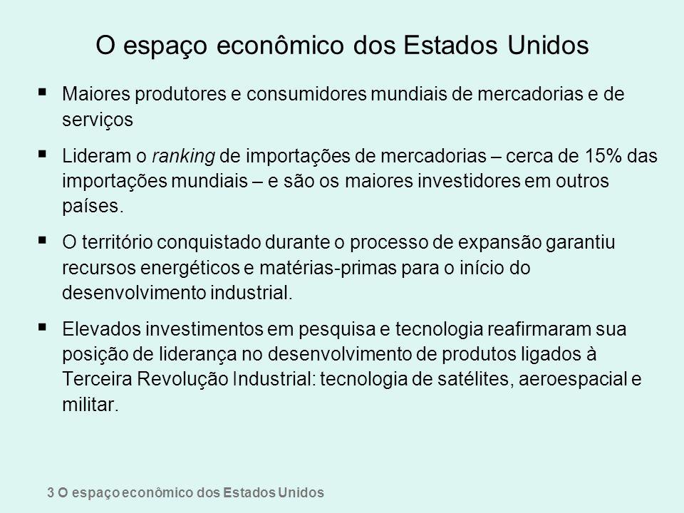 O espaço econômico dos Estados Unidos Maiores produtores e consumidores mundiais de mercadorias e de serviços Lideram o ranking de importações de merc
