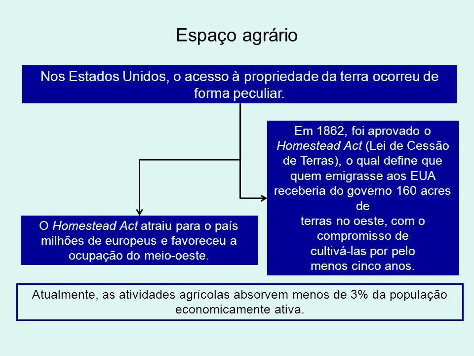 Espaço agrário Nos Estados Unidos, o acesso à propriedade da terra ocorreu de forma peculiar. Em 1862, foi aprovado o Homestead Act (Lei de Cessão de