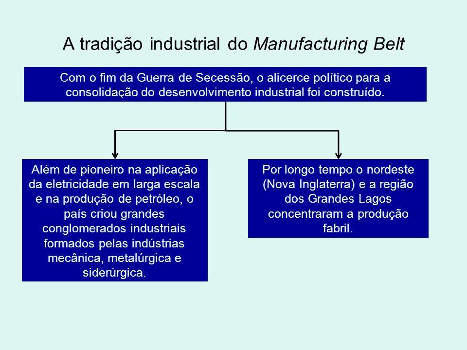 A tradição industrial do Manufacturing Belt Com o fim da Guerra de Secessão, o alicerce político para a consolidação do desenvolvimento industrial foi