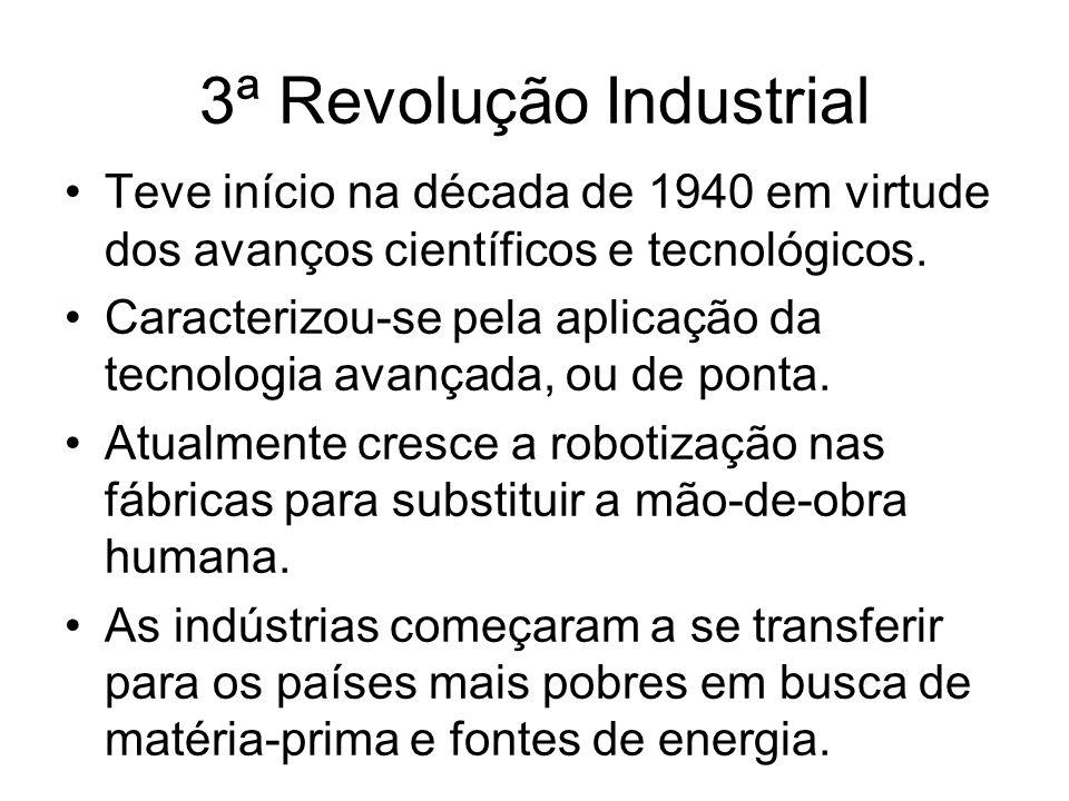 3ª Revolução Industrial Teve início na década de 1940 em virtude dos avanços científicos e tecnológicos. Caracterizou-se pela aplicação da tecnologia