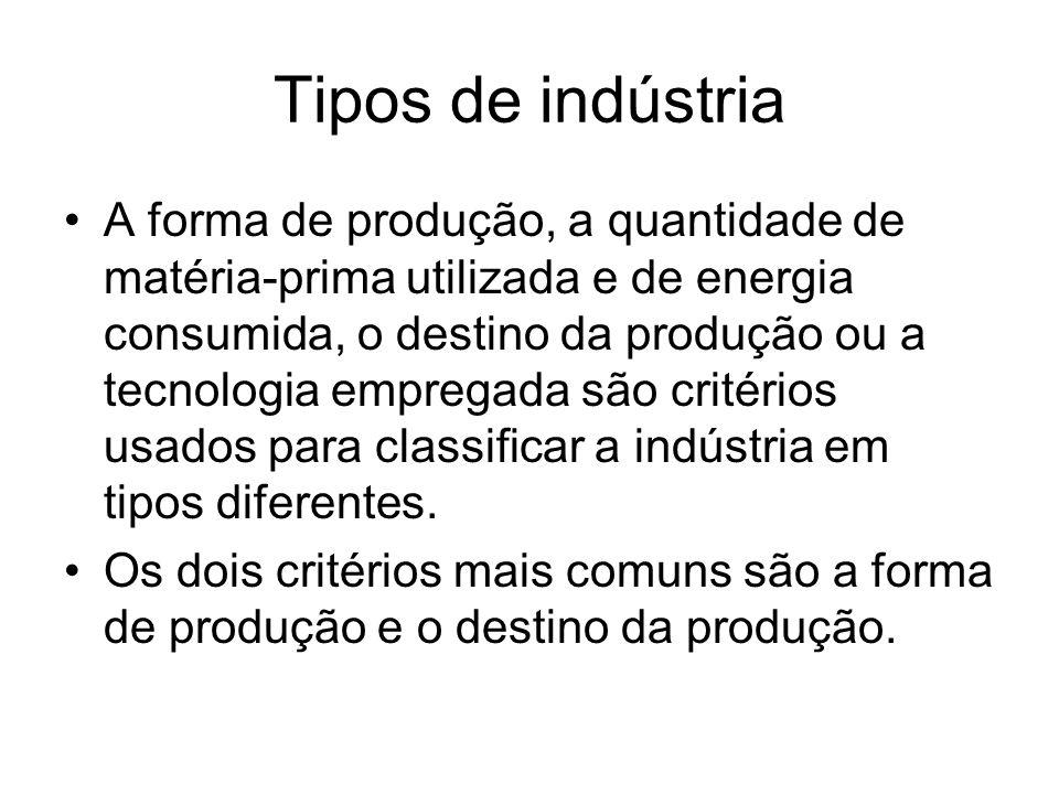 Tipos de indústria A forma de produção, a quantidade de matéria-prima utilizada e de energia consumida, o destino da produção ou a tecnologia empregad
