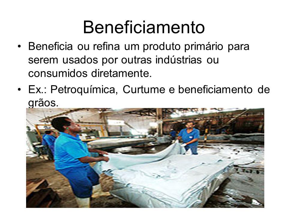 Beneficiamento Beneficia ou refina um produto primário para serem usados por outras indústrias ou consumidos diretamente. Ex.: Petroquímica, Curtume e