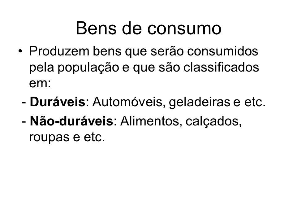 Bens de consumo Produzem bens que serão consumidos pela população e que são classificados em: - Duráveis: Automóveis, geladeiras e etc. - Não-duráveis