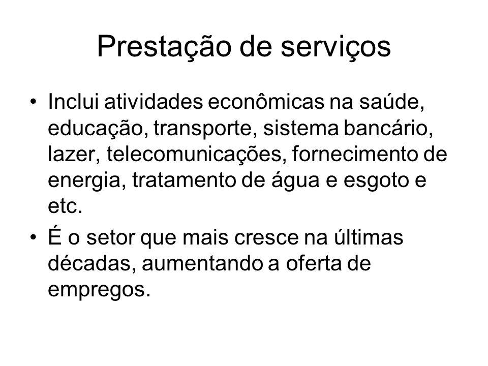 Prestação de serviços Inclui atividades econômicas na saúde, educação, transporte, sistema bancário, lazer, telecomunicações, fornecimento de energia,