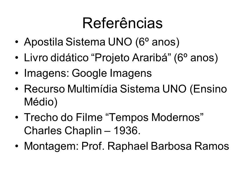 Referências Apostila Sistema UNO (6º anos) Livro didático Projeto Araribá (6º anos) Imagens: Google Imagens Recurso Multimídia Sistema UNO (Ensino Méd
