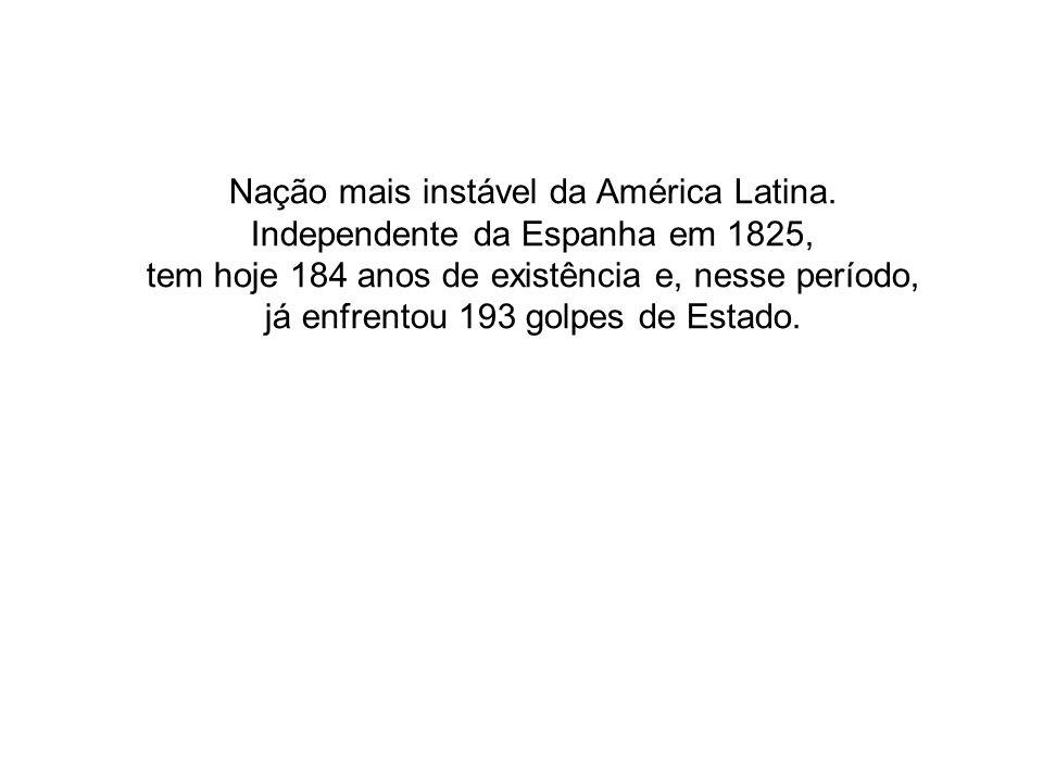 Nação mais instável da América Latina. Independente da Espanha em 1825, tem hoje 184 anos de existência e, nesse período, já enfrentou 193 golpes de E