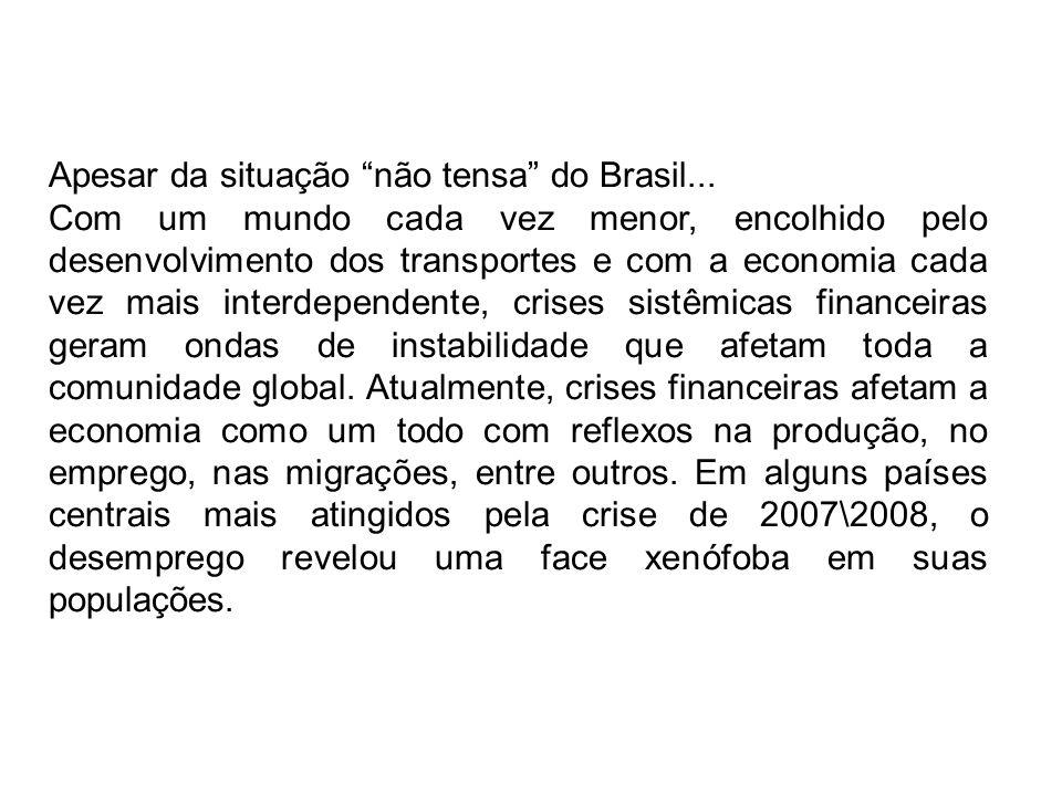 Apesar da situação não tensa do Brasil... Com um mundo cada vez menor, encolhido pelo desenvolvimento dos transportes e com a economia cada vez mais i
