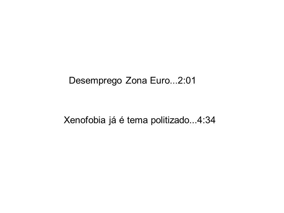 Desemprego Zona Euro...2:01 Xenofobia já é tema politizado...4:34