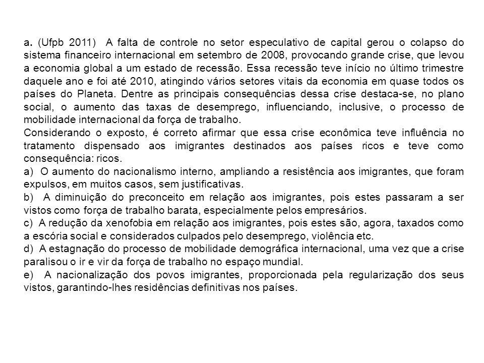 a. (Ufpb 2011) A falta de controle no setor especulativo de capital gerou o colapso do sistema financeiro internacional em setembro de 2008, provocand