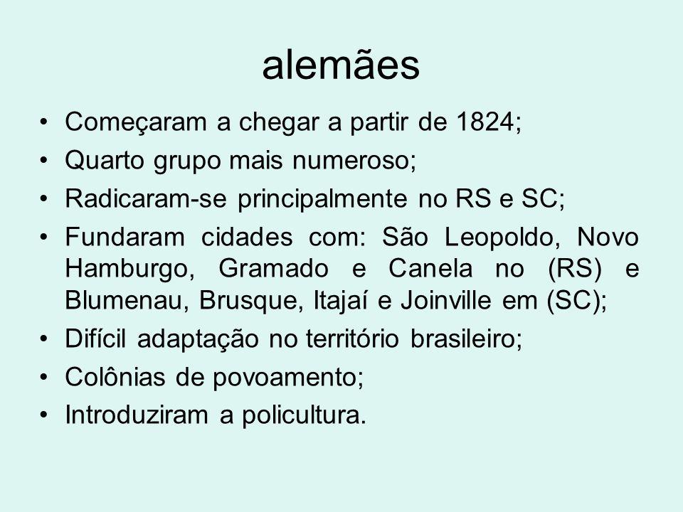 alemães Começaram a chegar a partir de 1824; Quarto grupo mais numeroso; Radicaram-se principalmente no RS e SC; Fundaram cidades com: São Leopoldo, N
