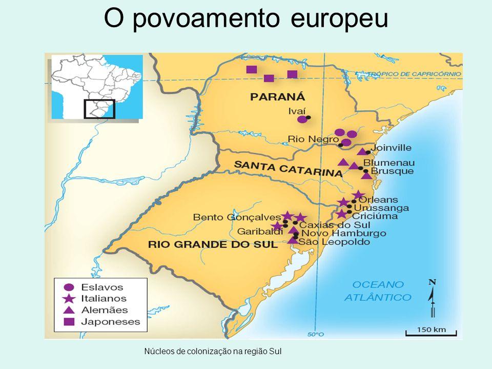 O povoamento europeu Núcleos de colonização na região Sul